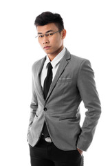 Portrait of a business man with glasses. Isolated on white background