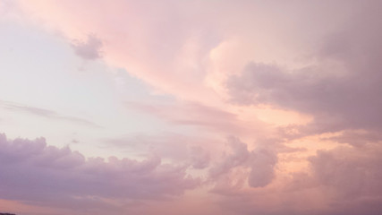 the sky at sunset. pink clouds