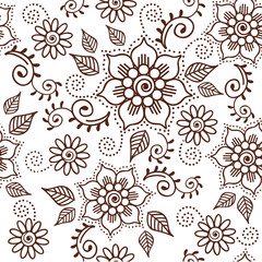 Brown Henna Lotus Repeating Pattern Spiritual Illustration 1