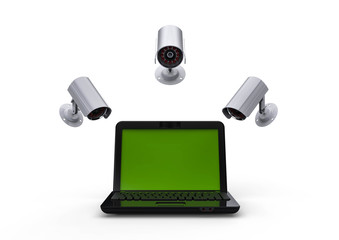 Network surveillance / 3D render image representing an laptop with cameras watching over