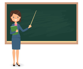 Female teacher standing near of blank school blackboard