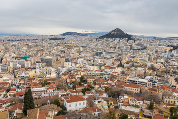 Panorama of Athens and Lycabettus Hill in the background, Athens, Greece