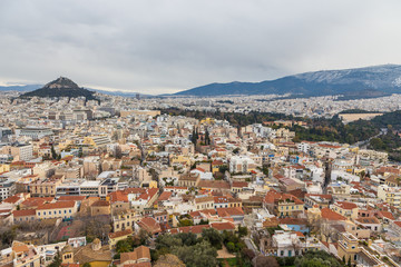 Printed kitchen splashbacks Athens Panorama of Athens and Lycabettus Hill in the background, Athens, Greece