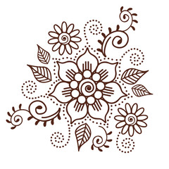 Brown Henna Flower Pattern Spiritual Illustration 1