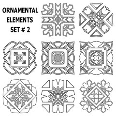 Ornamental elements set. Template for design and decoration