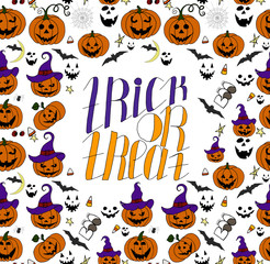 Hand Drawn Halloween Set. Trick or treat. Holiday background.