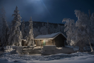 Chena Hot Springs against log cabin during night
