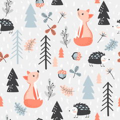 Seamless background with forest animals