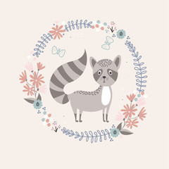 Cute raccoon with floral frame