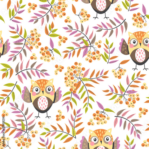 Fototapete seamless pattern with owls and rowan