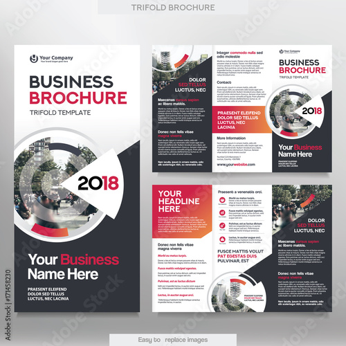 Business brochure template in tri fold layout corporate design business brochure template in tri fold layout corporate design leaflet with replacable image wajeb Gallery