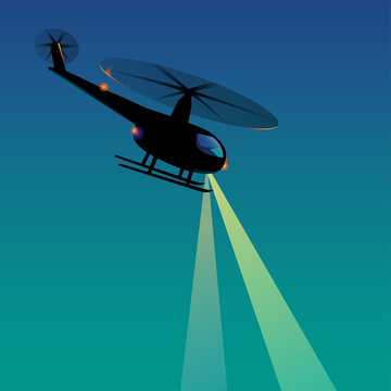 Vector Rescue helicopter night searchlight lights watching police adventure silhouette