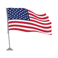 Isolated flag of the United States on a pole, Vector illustration