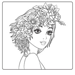 A young beautiful girl with a wreath of flowers on her head.