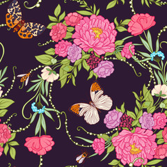 Floral seamless pattern with butterflies
