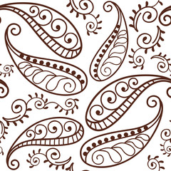 Brown Henna Paisley Repeating Pattern Illustration 1