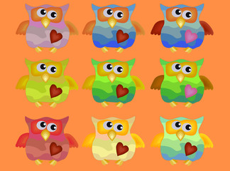 A set of nine cool owls with drunken fists and hearts on their chests.