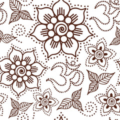Brown Henna Flowers and Om Repeating Pattern Illustration 1