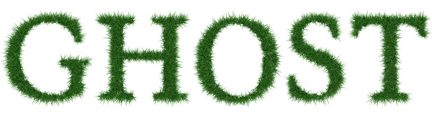 Ghost - 3D rendering fresh Grass letters isolated on whhite background.