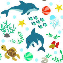 Seamless pattern with playing dolphins, marine inhabitants and fauna.