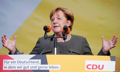 German Chancellor Angela Merkel campaigns in Lingen