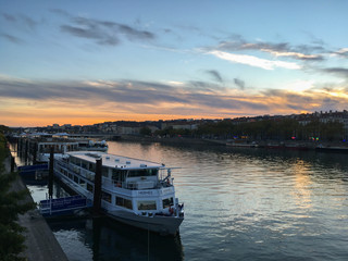 beautiful sunset at a river in Lyon, France