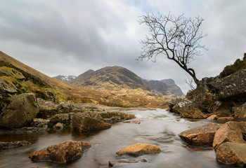 View to the Three Sisters from Glencoe Valley, Scotland