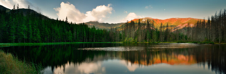 Panoramic view of Smreczynski pond in Tatra mountain