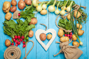 Fresh vegetables on a blue wooden background