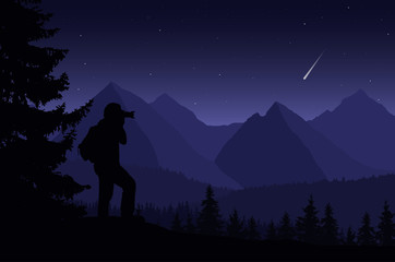 Vector illustration of a mountain landscape with trees and a human being photographed under a night purple sky with stars