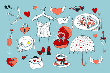 Set of cute icons for Valentine s day isolated on white background