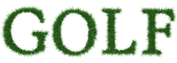 Golf - 3D rendering fresh Grass letters isolated on whhite background.