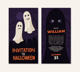 Invitation for Halloween. Illustration of two ghosts in background of night sky. Template design of invitation cards front and back.
