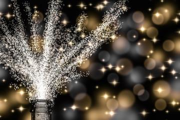 sekftflache, champagnerflasche vor festlichem hintergrund