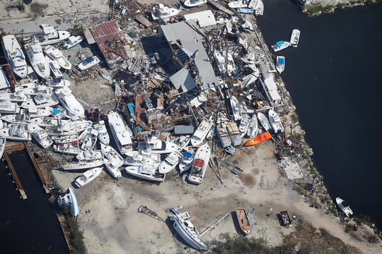 A destroyed marina is pictured in an aerial photo in the Keys in Marathon, Florida