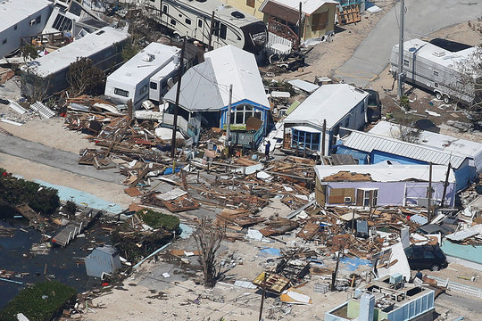 A destroyed trailer park is pictured in an aerial photo in the Keys in Marathon, Florida