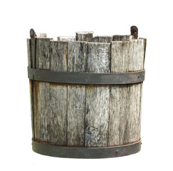 Old wooden bucket of water hanging on a white background