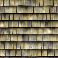 brown and weathered wood shingles on a vertical wall.High-resolution seamless texture