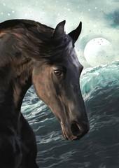 Kary na tle morza i księżyca Digital art Painting