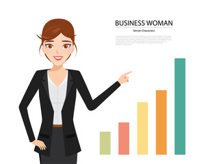 business woman presenting of business chart character.