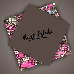 Real estate concept in 3d cartoon doodles background design. Hand drawn colorful vector illustration.