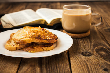 bible and coffee breakfast with toast