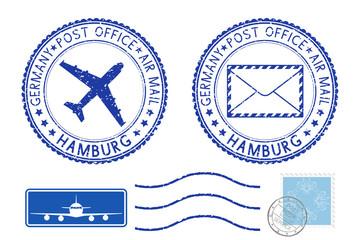 Postmarks HAMBURG and stamps. Blue postal elements