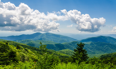 Scenic Blue Ridge Mountains located in North Carolina, USA. Tourist destination location. Beautiful view of  Appalacian Mountains.