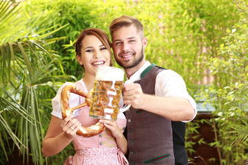 Young bavarian couple in traditional dress  exterior shot