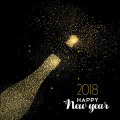 Happy New Year party drink gold glitter dust card