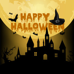 Halloween night background with haunted house, tree, pumpkin and bats. Vector