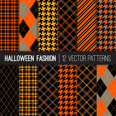 Halloween Fashion Patterns in Orange, Yellow, Black and Taupe. Preppy Fall Backgrounds. Autumn Colors Houndstooth Tweed, Tartan Plaid, Stripes and Argyle. Pattern Tile Swatches Included.