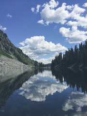 View of alpine lake and reflections, North Cascades