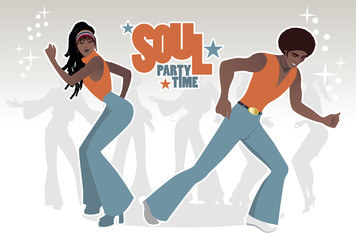 Soul Party Time. Young couple dancing soul, funk or disco. Retro style.